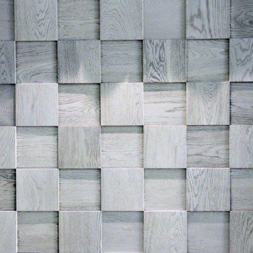 Мозаика и 3D панели из дерева Esse 1014 Квадраты шахматные светло-серые